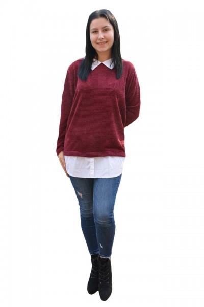 Poze Bluza Ava casual-buusiness cu tricot din catifea ,nuanta de mov
