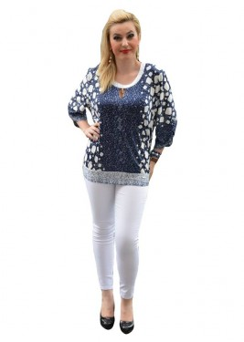 Poze Bluza casual de dama, masura mare, bleumarin cu design alb