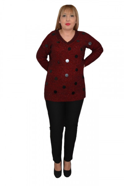 Poze Bluza casual din tricot cu decloteu in V,marsala