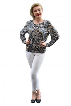Poze Bluza cazual, cu maneca lunga, marimi mari, cu animal-print si gri