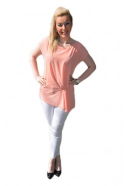 Poze Bluza comoda cu design simplist, de culoare piersica, maneca scurta