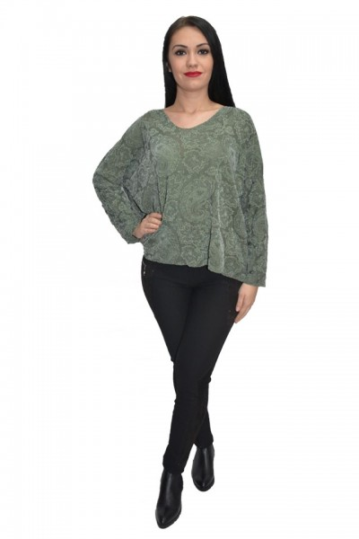 Poze Bluza cu imprimeu digital natural nuanta verde