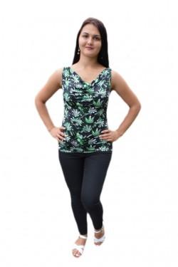 Poze Bluza de vara cu croi drept, lejer, nuanta neagra cu design verde