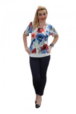 Poze Bluza deosebita cu maneca scurta, masura mare, bleumarin-rosu