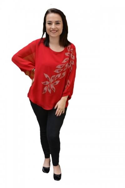 Poze Bluza eleganta cu aplicatii deosebite Dakota,nuanta de rosu
