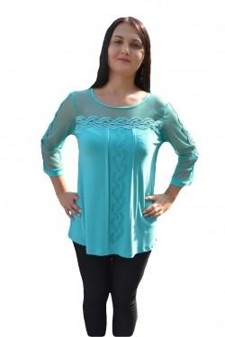 Poze Bluza eleganta, de ocazie, culoare turcoaz cu insertii de strasuri