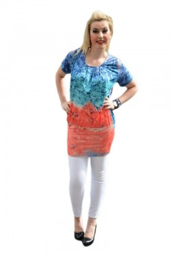 Poze Bluza lunga tip tunica, culoare bleumarin-corai, model tineresc