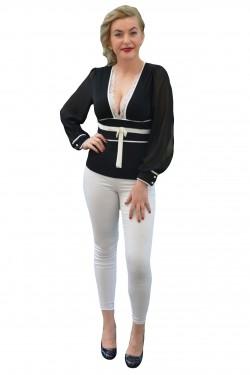 Poze Bluza moderna, de culoare neagra, decorata cu detalii albe