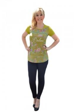Poze Bluza moderna de vara cu imprimeu multicolor pe fond verde