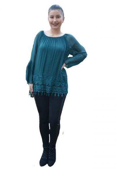 Poze Bluza moderna Kara cu insertii de broderie si dantela,nuanta de verde