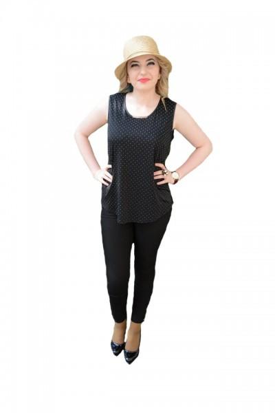 Poze Bluza neagra cu model de buline argintii, iesite usor in relief