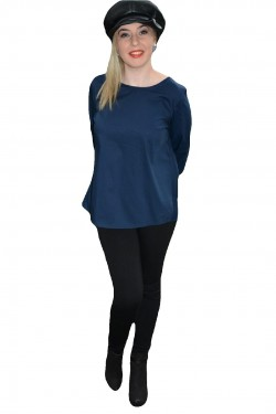 Bluza rafinata cu insertie de funda mare in spate, nuanta bleumarin