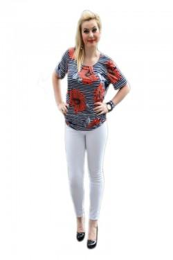 Poze Bluza tinereasca cu imprimeu de dungi bleumarin si flori rosii
