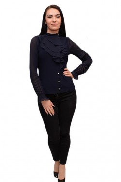 Poze Bluza trendy cu design de volane si nasturi fini, nuanta neagra