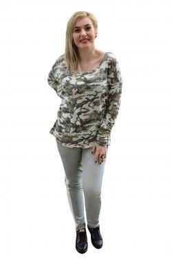 Poze Bluza trendy cu maneca lunga, masura mare, nuanta verde cu alb