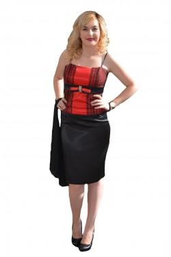 Poze Costum de ocazie cu corset rosu si fusta neagra, realizat din saten