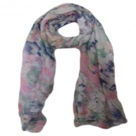 Esarfa moale, fina, culoare albastru-roz, cu imprimeu floral