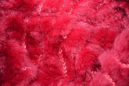 Fular calduros Dave cu insertii de paiete ,model circular,nuanta de rosu