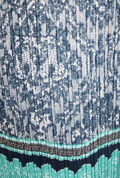 Fusta de vara,lejera, lunga, cu imprimeu vintage, in nuanta de turcoaz