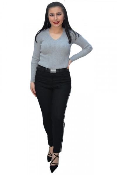 Poze Pantalon dama Deliah cu insertii de strasuri pe picior,negru