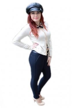 Poze Pantalon de toamna-iarna, nuanta de bleumarin, design trendy