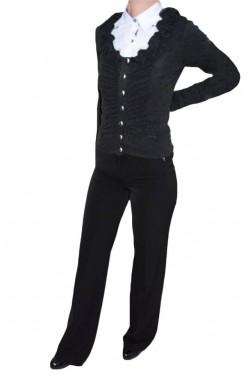 Poze Pantalon fin, nuanta de negru, detaliu auriu aplicat