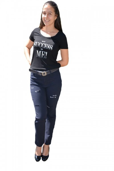 Poze Pantaloni dama Mali cu design rafinat,nuanta de bleumarin