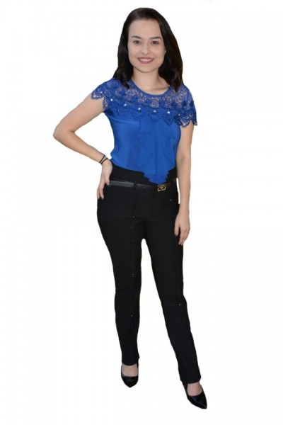 Poze Pantaloni Nova cu aplicatii de strasuri ,nuanat de negru