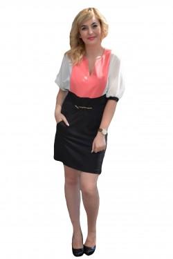 Rochie casual, rafinata , mini, de culoare alb-corai-negru