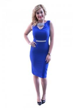 Poze Rochie de culoare albastra, model elegant, infrumusetat cu pietre