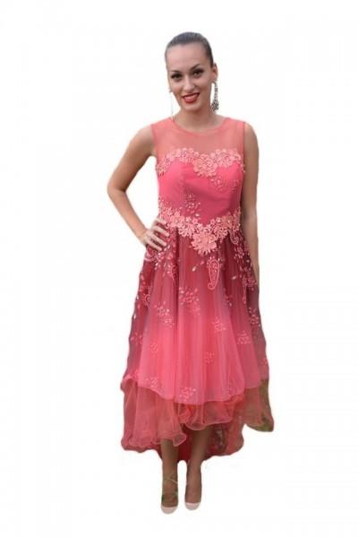 Poze Rochie de gala din tul vaporos de nuanta roz, imprimeu floral