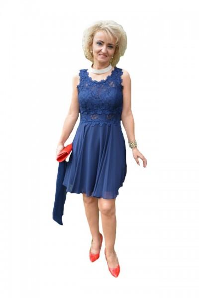 Poze Rochie de seara bleumarin, model scurt cu dantela si voal