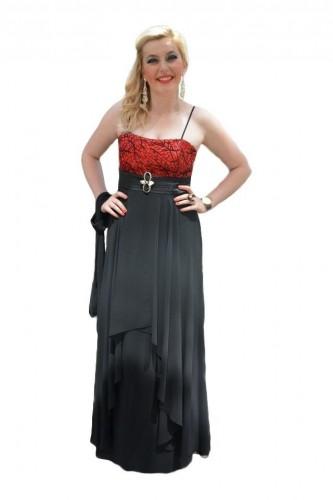 Rochie de seara lunga neagra, cu design modern si top rosu dantelat