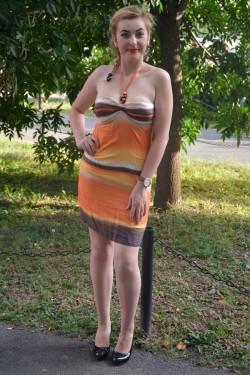 Rochie de vara din material de calitate de nuanta portocalie