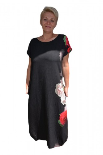 Rochie de zi cu imprimeu floral,culoare negru