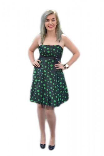 Poze Rochie deosebita, cu buline verzi pe fond negru, model evazat