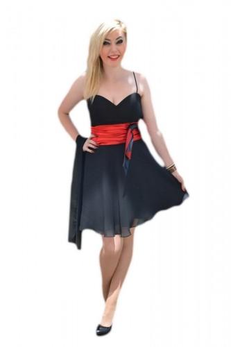 Poze Rochie eleganta ,de culoare negra, cu banda in talie