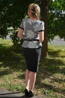 Rochie eleganta de culoare negru-gri model cu peplum