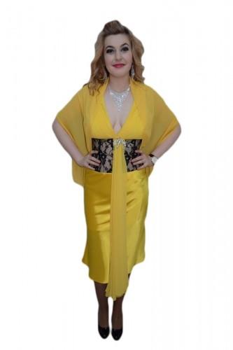 Poze Rochie in nuanta de galben, dantela rafinata aplicata