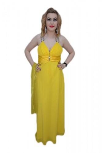 Poze Rochie in nuanta de galben, decolteu in V, pietre argintii