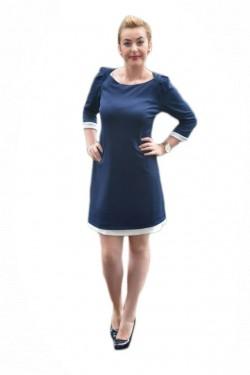 Rochie lejera, trendy, de toamna-iarna, bleumarin cu detalii albe