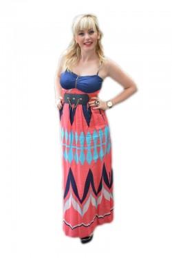 Poze Rochie rafinata de tineret, model lung cu imprimeu multicolor