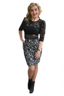 Poze Rochie scurta in tendinte, neagra combinata cu alb, model dantelat