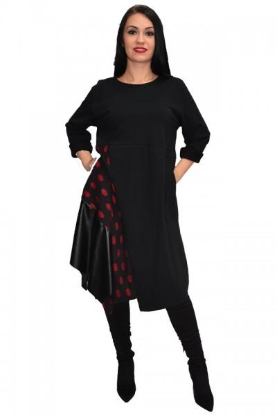 Rochie tinereasca cu buline si inserii de piele,nuanta neagra