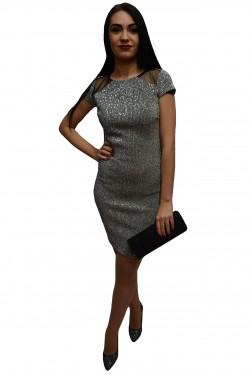 Poze Rochie tinereasca in nuanta de argintiu, model cambrat cu paiete