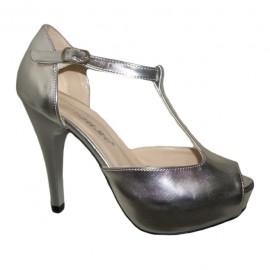 Poze Sanda eleganta tip pantof, nuanta argintie, platforma ascunsa