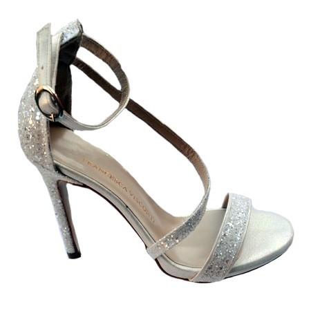 Poze Sandale fashion Andalouse,toc cui,nuanta de alb cu sclipici