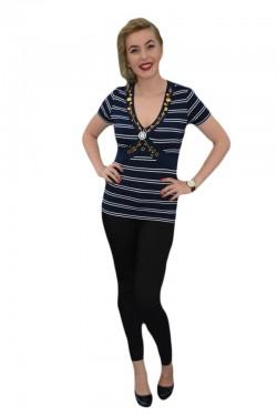 Poze Tricou casual, cu dungi orizontale, de culoare bleumarin-alb