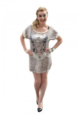 Poze Tricou casual, nuanta de bej, design trendy si model de margele