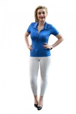 Poze Tricou trendy de un albastru regal, guler si design de buzunare